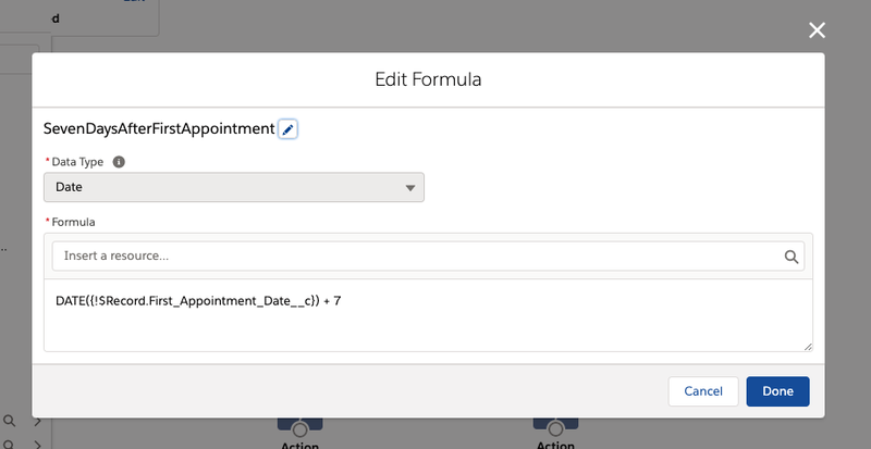 Creating the formula to calculate 7 days after the first appointment