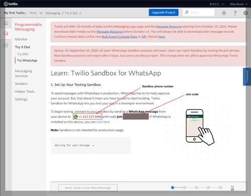 Joining the Twilio WhatsApp sandbox