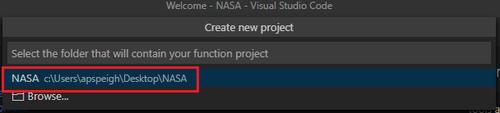 select project folder