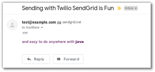 "Screenshot of an email inbox with a message ""sent via sendgrid.net"" reading ""Sending with Twilio SendGrid is Fun and easy to do anywhere with Java"""