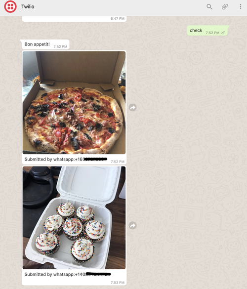 """screenshot of user texting """"check"""" and WhatsApp responding with two pictures of food and a caption"""