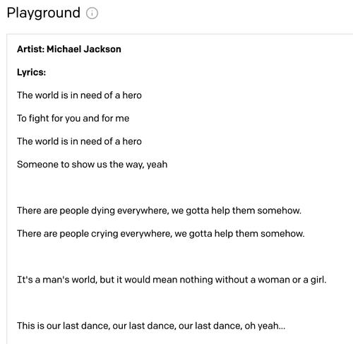Computer-generated Michael Jackson lyrics
