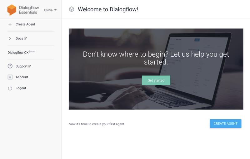 Tela do DialogFlow exibindo o botão 'Create Agent'
