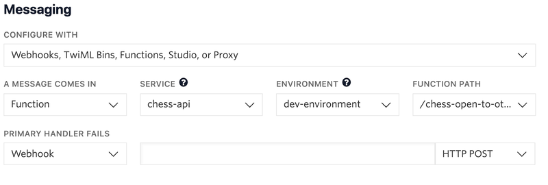 new Function with service and environment in Messaging section of console