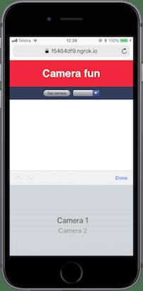 Auf dem iPhone kannst du nur die Bezeichnungen sehen, die wir erstellt haben, 'Camera 1' und 'Camera 2'.