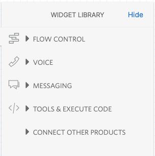 Detalhe do Twilio Studio com lista de tipos de componentes disponíveis