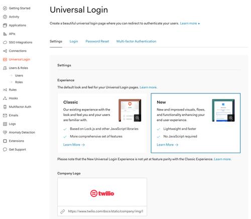 Auth0 universal login configuration