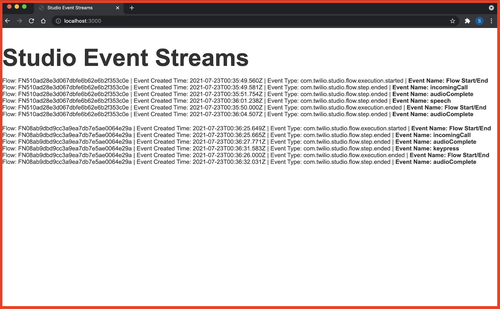 Event Streams Dashboard While Streaming Events