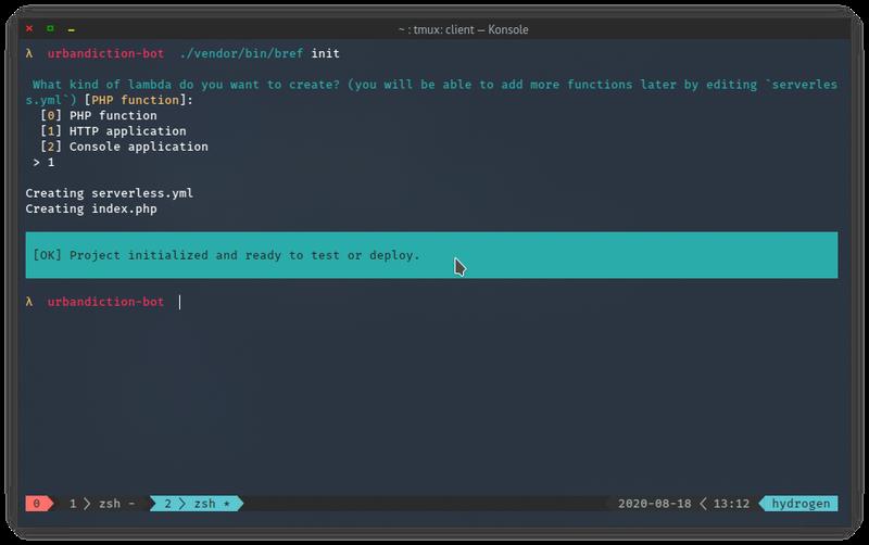 Screenshot of selecting Bref's HTTP option