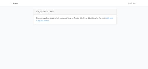 Captura de pantalla de Laravel con información de 'verificar correo electrónico'.
