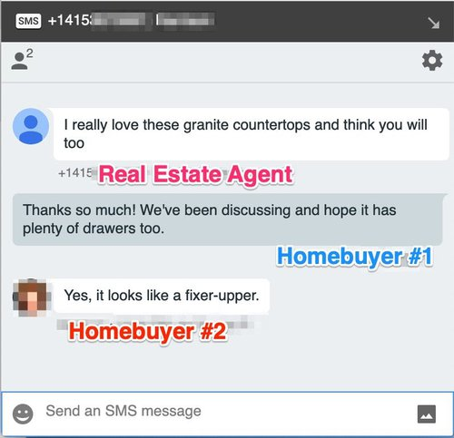 Group Texting Conversation between real estate agent and homebuyers