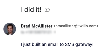 Test email example to trigger an SMS
