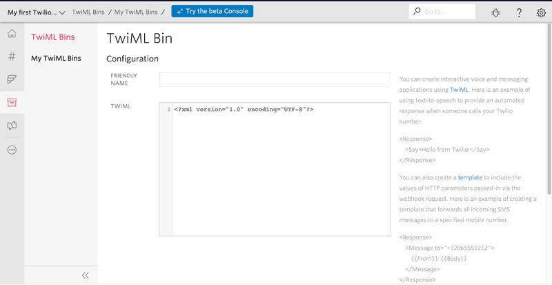 Captura de tela da página de configuração da TwiML bin