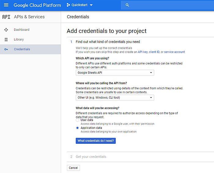 Google Cloud platform credentials