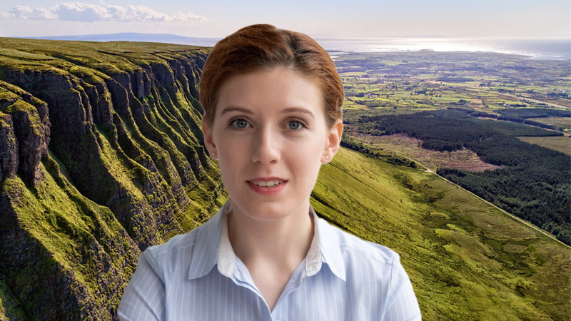 The person's image appears in front of a background image of green mountains and valleys.