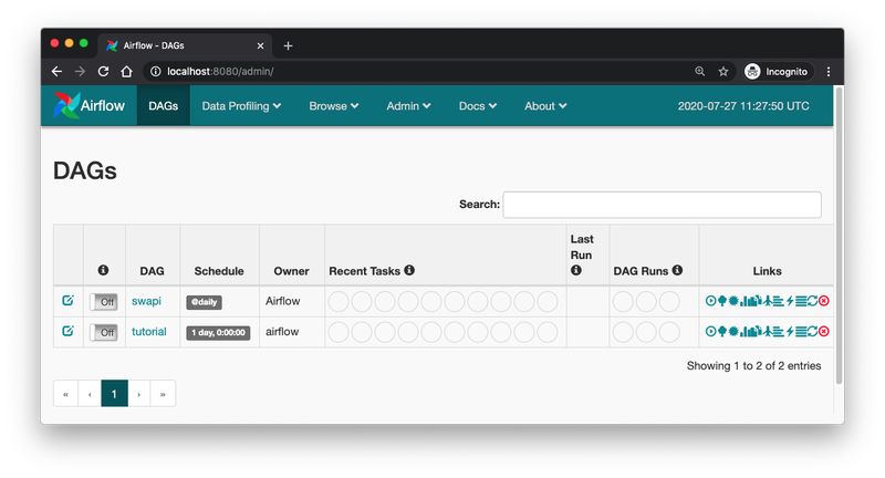 SWAPI DAG in Airflow UI