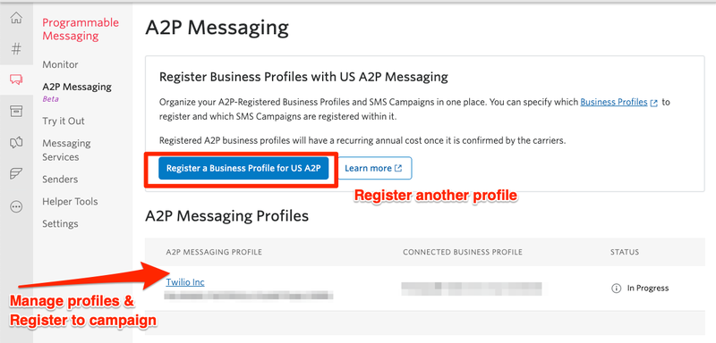 US A2P 10DLC Onboarding: Access A2P Messaging