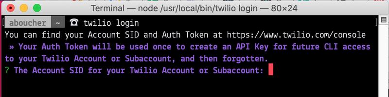 Screenshot of terminal showing twilio login command