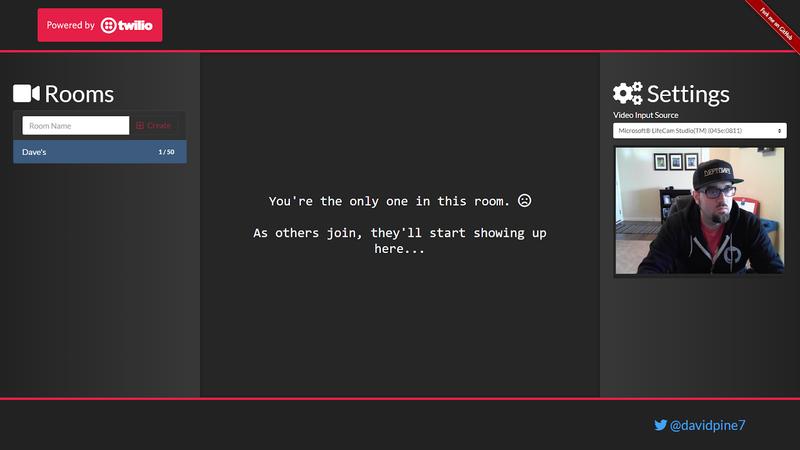 Video chat application active room screenshot