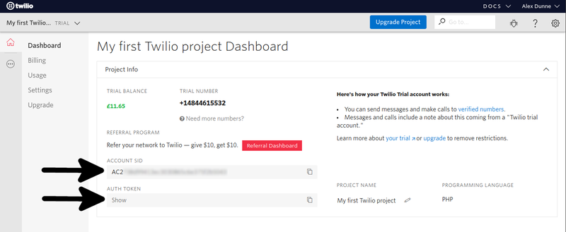 Twilio dashboard