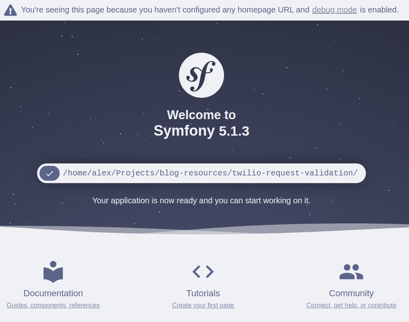 Symfony developer landing page