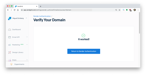domain verification successful