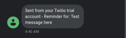 Twilio SMS on phone