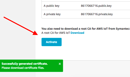 Activate IoT Certificate AWS IoT