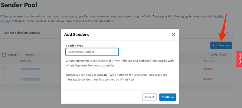 Add WhatsApp-enabled Sender to Messaging Service