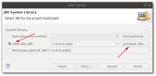 "Another screenshot of Eclipse. This time it's the ""Add Library"" dialog with ""Alternate JRE"" and ""Installed JREs"" buttons highlighted."