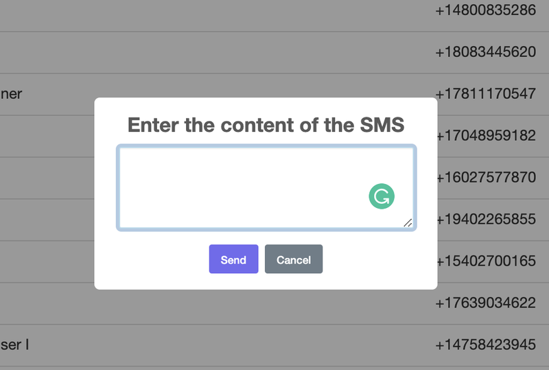 SMS content box