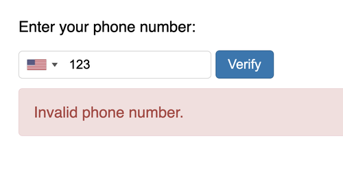 invalid phone number input with error