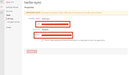 Twilio API Key and Secret page