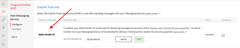 Set up an Alphanumeric Sender ID for your messaging service