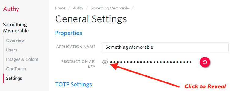 Account Security API Key