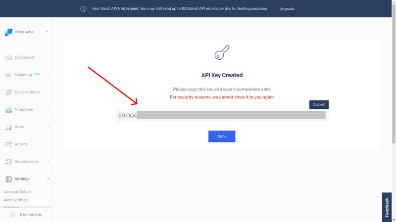 Copy a SendGrid API key