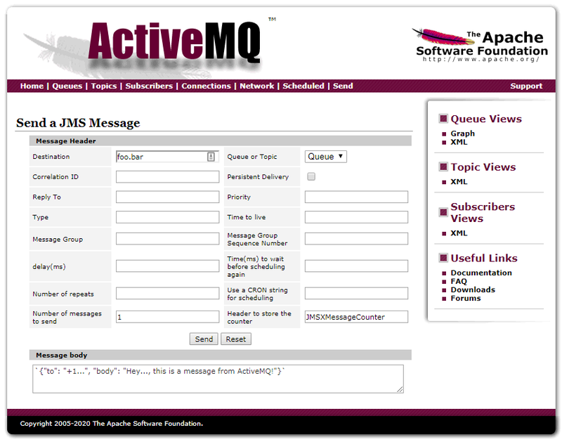 ActiveMS Send page screenshot with JSON payload