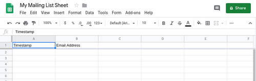 Google sheet screenshot