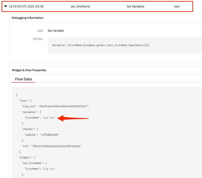 Image of an opened part of the Twilio studio logs that show where the firstName variable is set