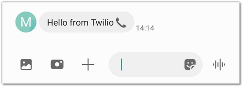 """Screenshot of my phone's SMS app showing a message that says """"Hello from Twilio 📞"""""""