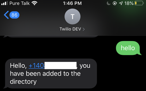 Example response of user being added to the directory in the Work Accountability App