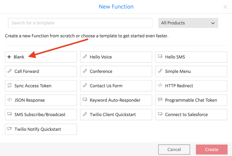 Create a function from a blank template