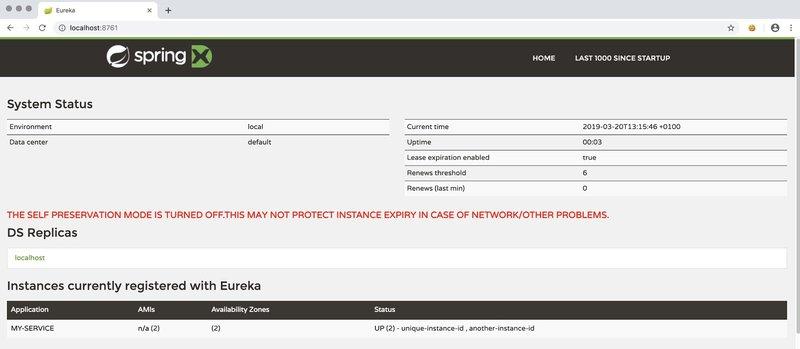 Instances registered with Eureka