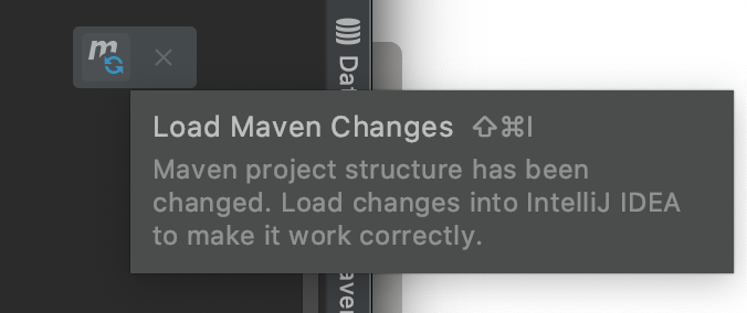 load maven changes button inside of intelliJ