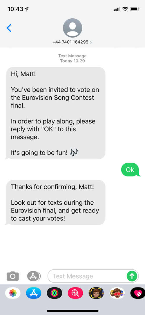 SMS confirmation to the context