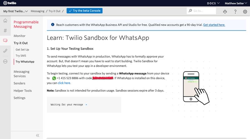 Setup Twilio Sandbox for WhatsApp