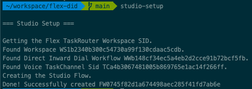 Example command line output