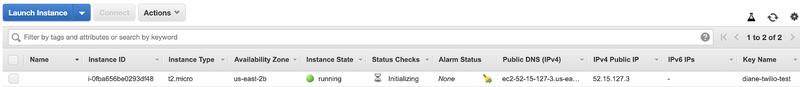 screenshot of the instance tab on EC2 dashboard