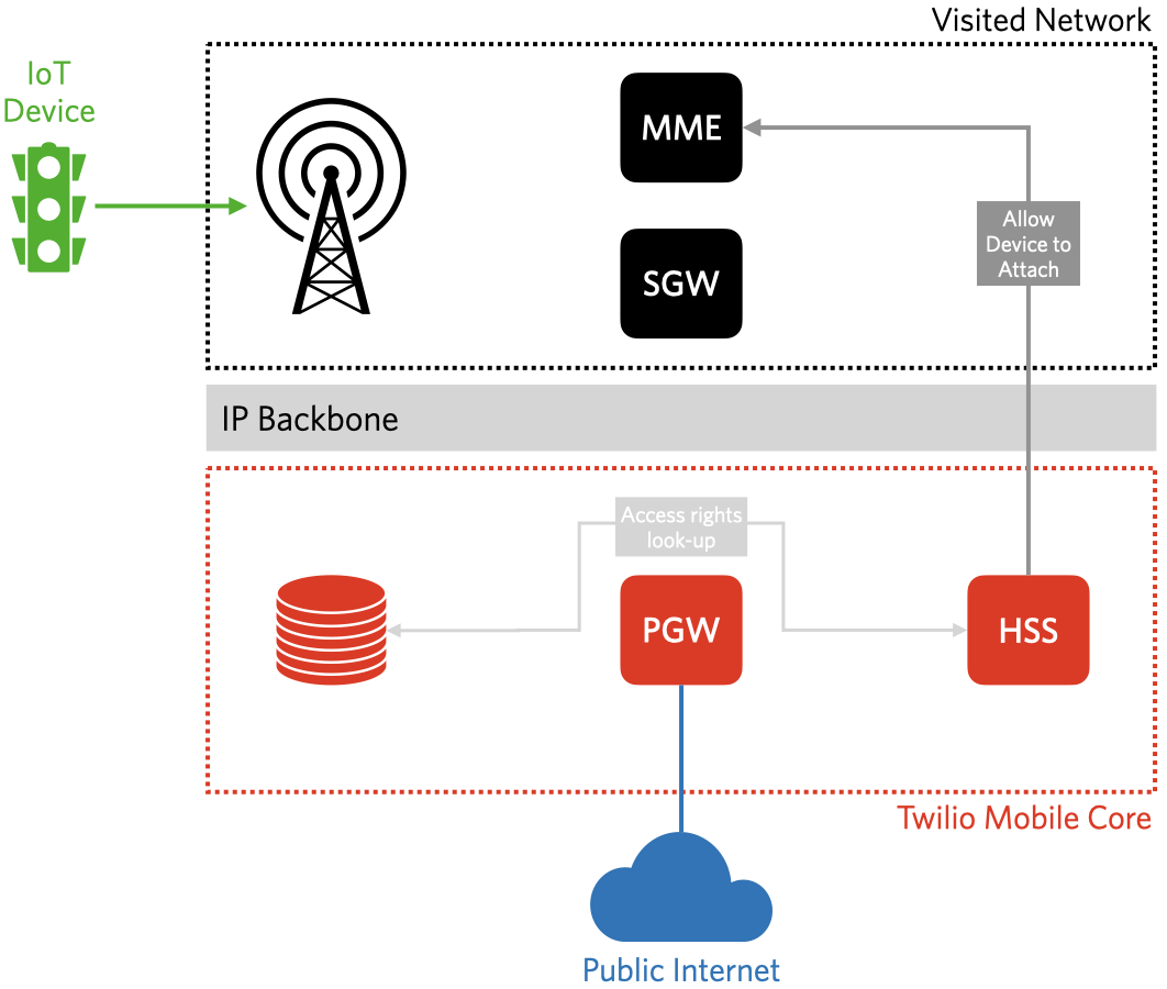 The HSS authorizes device access to the network