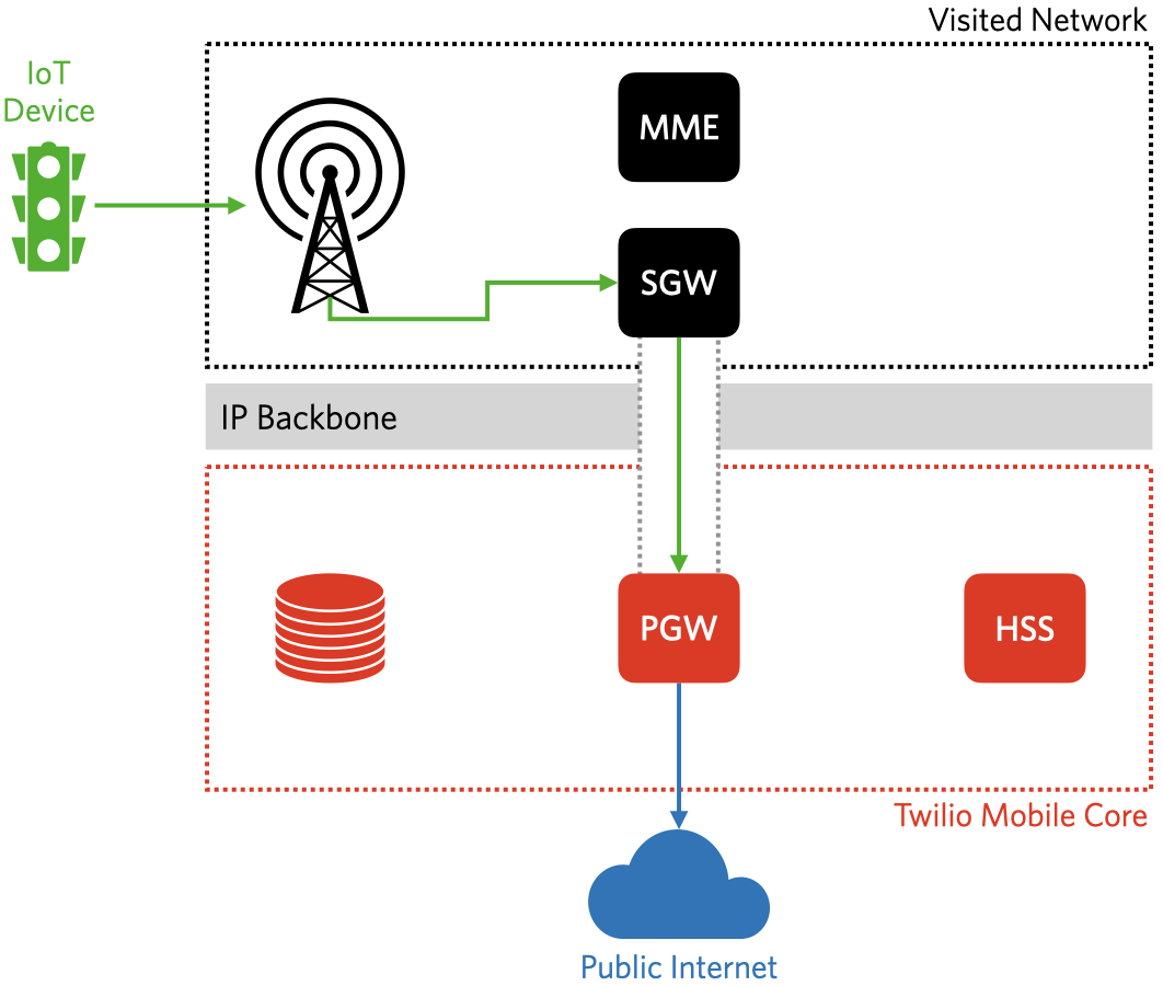 The IoT device is connected to the Internet